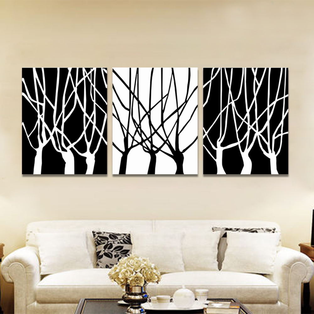 Unframed 3 Abstract Canvas Painting Black White Dry tree Wall Art Decor Prints Wall Pictures For Living Room Wall Art Decoration
