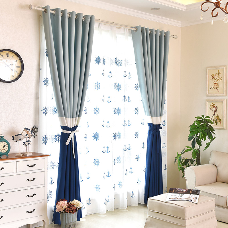 Custom Curtains Simple Mediterranean Living Room Cloth Spell Blue White Bedroom Yarn Blackout Curtain Tulles E375