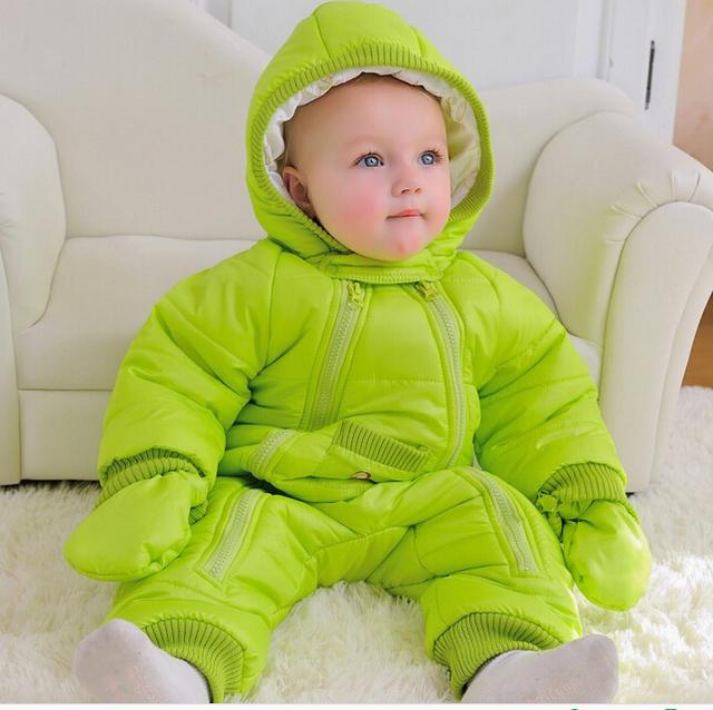 2017 nuevo mono del bebé del otoño invierno traje para la nieve chaqueta niños abrigo parque de la niña ropa al aire libre de la capa caliente con el sombrero para niños