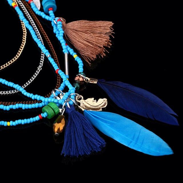 ожерелья naomy & zp в богемном стиле с разноцветными перьями фотография