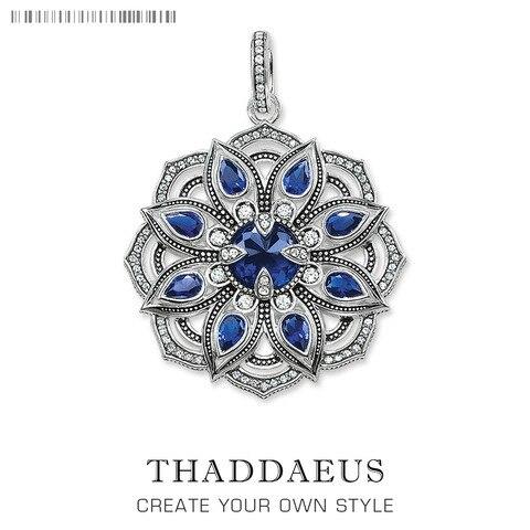 Marca de Moda Jóias de Prata Presente para Mulher cz da Flor de Lótus Pingente Azul Esterlina Bijoux Colar Acessórios ts Thomas 2020 925