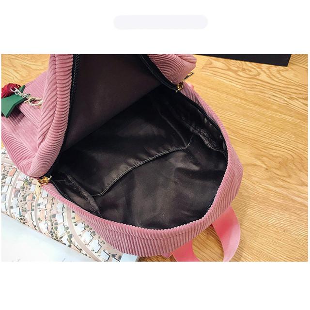 Polyester Shoulder Strap With Tassel Corduroy Backpack