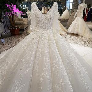 Image 2 - AIJINGYU חתונה שמלת 2021 2020 Luxuris שמלות בריטניה גואנגזו גותי שמלות למעלה שמלת כלה