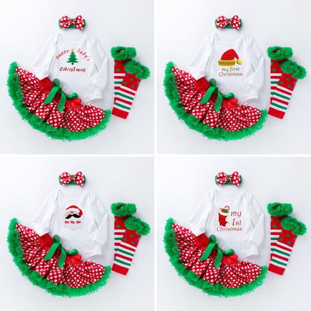 newborn girl clothes baby girl christmas outfits sets infant girl letter cotton jumpsuit tutu polka dot