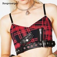 08cca5e65a75a Bangniweigou England Grid Checker Buckle Belt Camisole Vintage Red Plaid Crop  Top