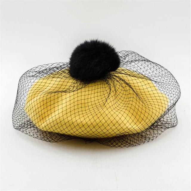Women Beret Hat Rabbit Hair...