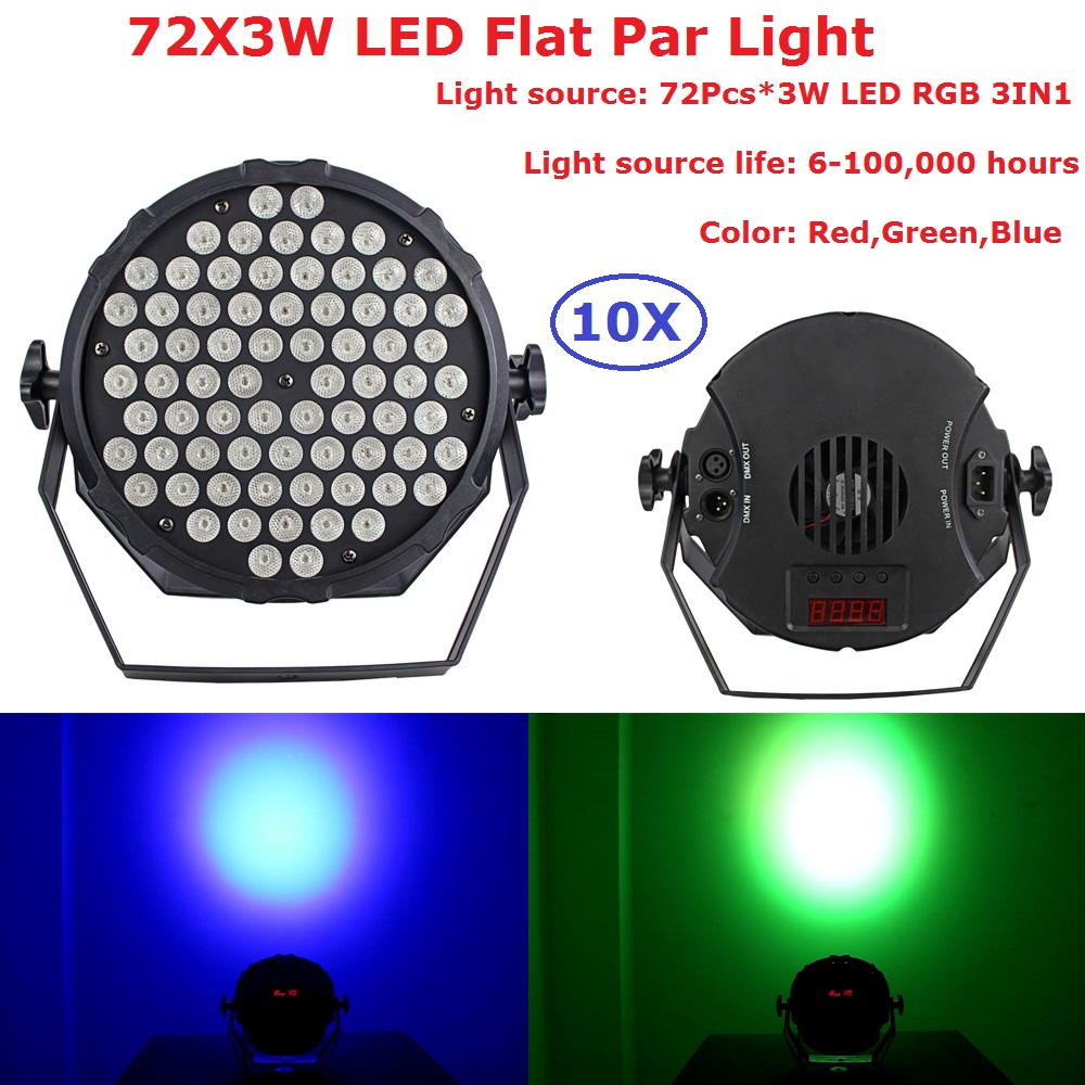 10Pcs/Lot Fast Shipping 72X3W Plastic LED Par Lights RGB 3IN1 Flat Par Led DMX512 Disco Lights Professional Stage Dj Equipment автоинструменты new design autocom cdp 2014 2 3in1 led ds150
