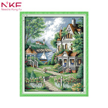 European-style villa counted patterns print on canvas cross stitch kit chinese embroidery needlework sets diy landscape decor