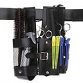 Pro Salon Barber Detachable Black Leather Rivet Clips Combs Scissor Tools Bag Storage Hairdressing Holster Pouch Toolkit