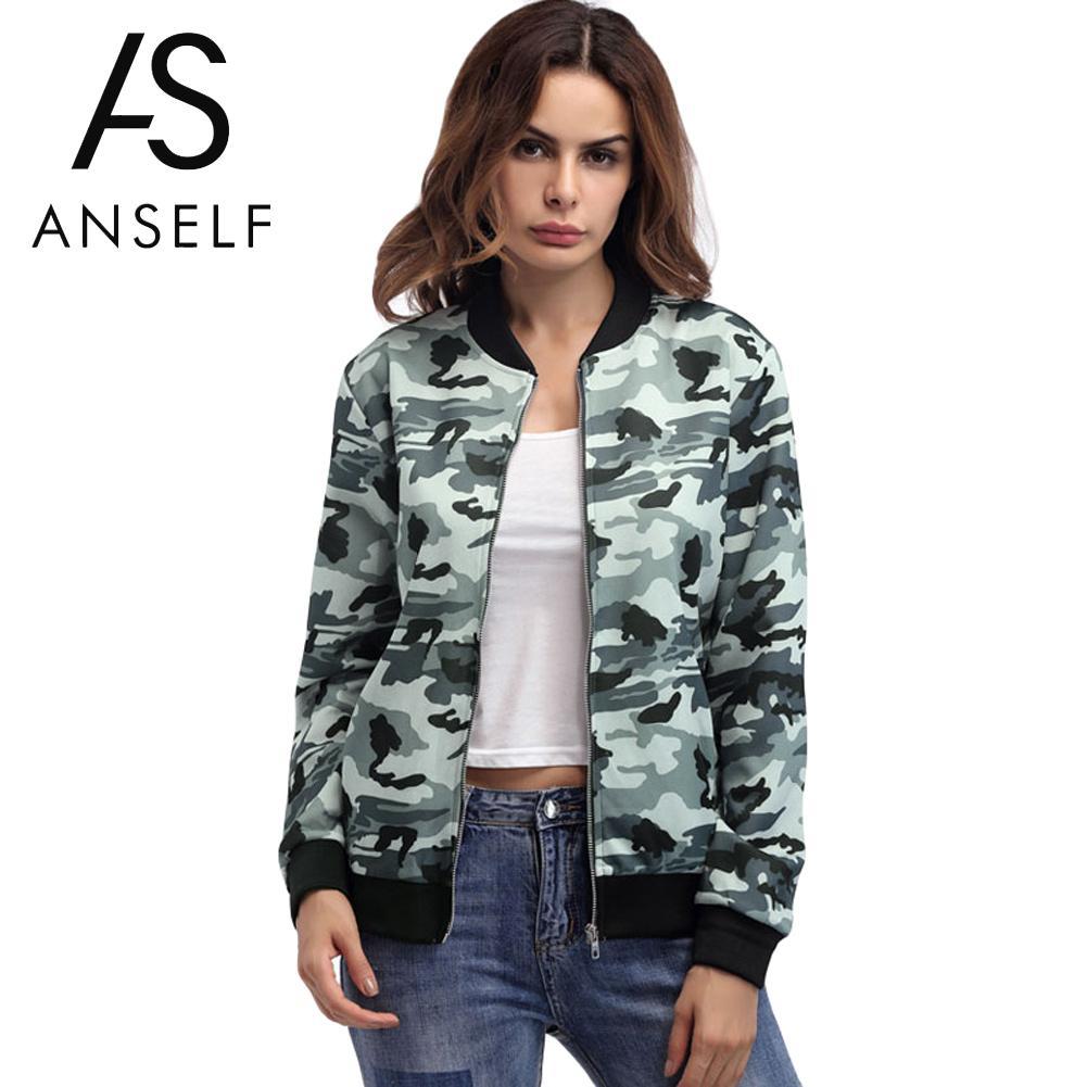 Anself Women Autumn Casual   Jackets   Camouflage Pocket Zipper Front Stand Collar Long Sleeve Winter   Basic     Jacket   Coat Outerwear