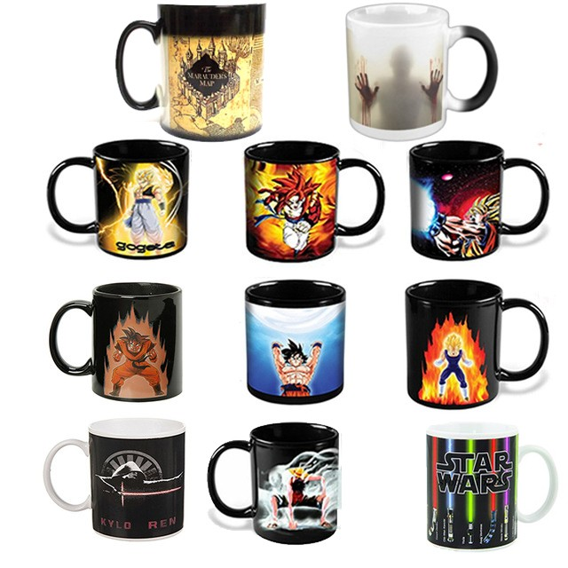 Kuollut kuollut / Tähtien sota / Dragon Ball Z / Batman vs Superman / Kapteeni Amerikka muki Reactive Magic -värimuutos Mug Coffee Cup