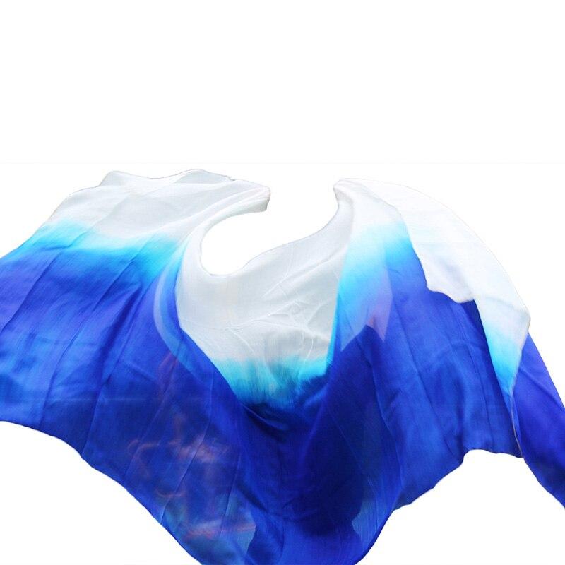 100% Real Natural Silk Belly Dance Veil Popular Dance Accessories Veils 250/300*114cm Gradient Color Hand Dyed Silk Veil 5 Sizes