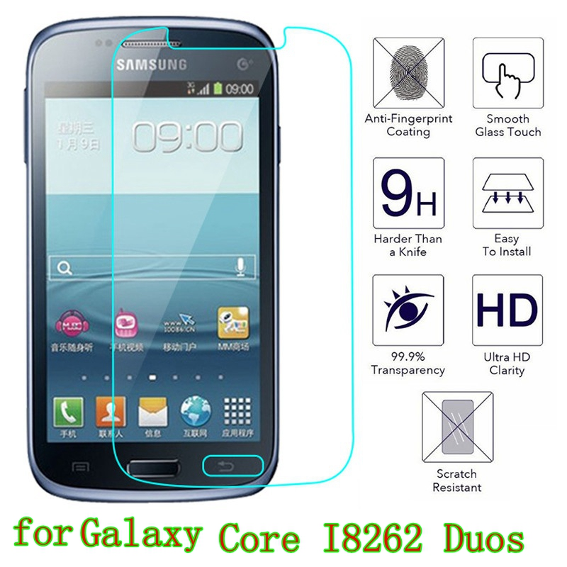 Tempered Glass For Samsung Galaxy Core I8262 Duos Premium Screen Protector Film GT-I8262 8260 Premium Screen Protector Film Case