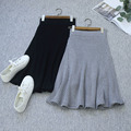 Autumn and winter women 's large knitted long skirt in the wholesale section of the real shot women