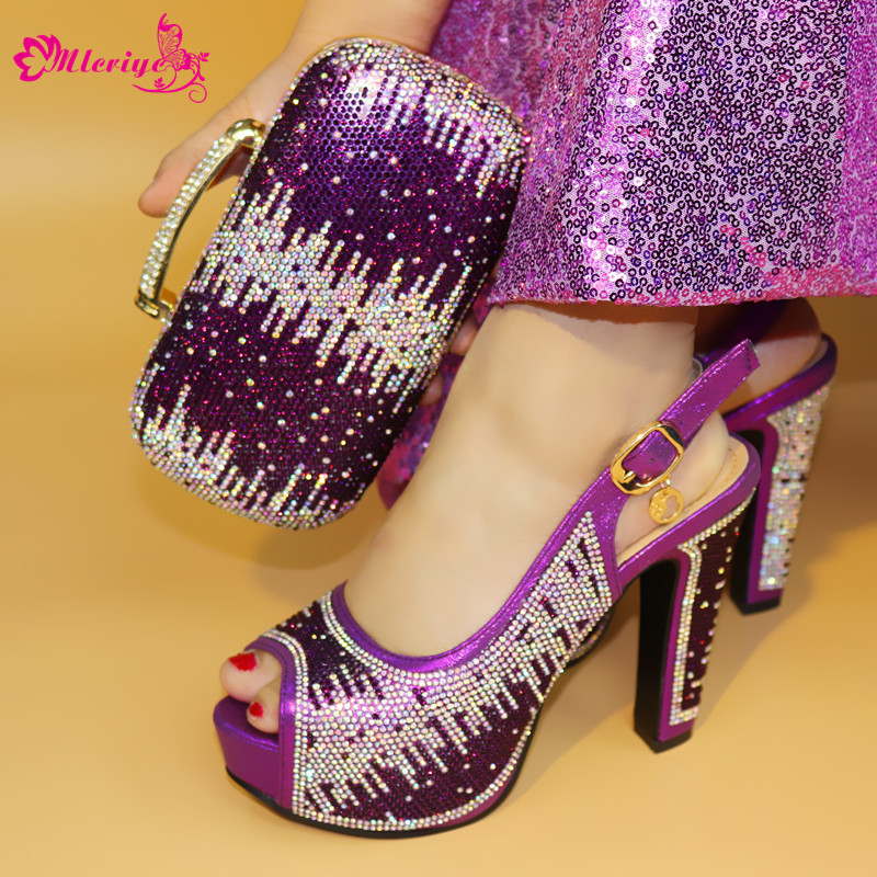 1719 African Italian Shoes and Bag Set Purple Color Matching Women Shoes and Bag Set Decorated with Rhinestone Nigerian Women chic women s rhinestone decorated floral ring