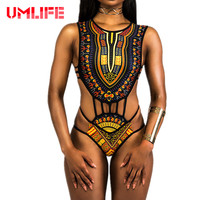 UMLIFE Africa Bikini 2017 Sexy Printed Mini String One Piece Swimsuit Swimwear Women Black White Beachwear