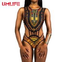 UMLIFE 2017 Afrikaanse Sexy Mini String Een Stuk Swimwear Vrouwen Zwart Wit Beachwear Bodysuit Zwembroek Voor Vrouwen