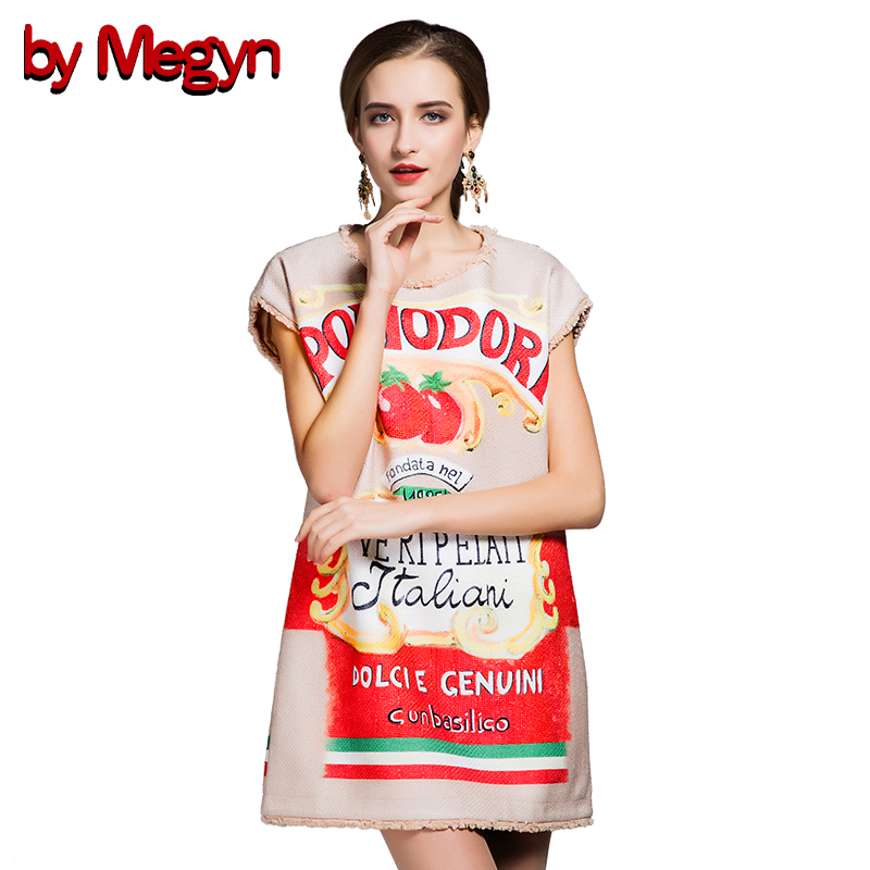 by Megyn New Fashion 2017 Runway Designer Summer Dress Women's Sleeveless Letter Print Above Knee Mini Casual Loose Dress DG8533