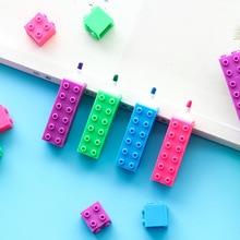 36 개/몫 미니 컬러 블록 형광펜 빌딩 다이아몬드 드로잉 마커 펜 아이 선물 편지지 사무실 학교 용품 A6201