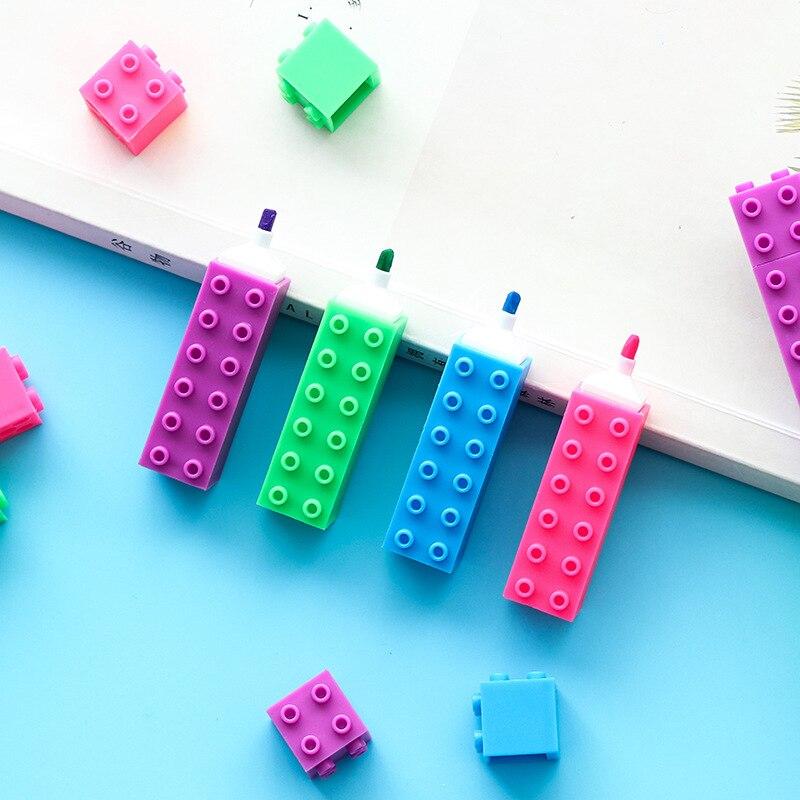 36 pcs lote mini bloco de cores highlighter caneta edificio diamante desenho marcador canetas presente do