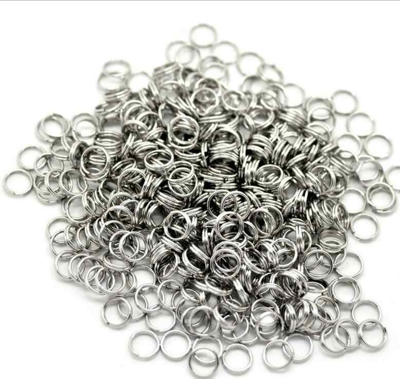 8mm 10mm 12mm stainless steel Key Tags Rings White Plated Steel Round Split Ring for Pet ID Tags Pet Dog Cats Collar 100pcs/bag