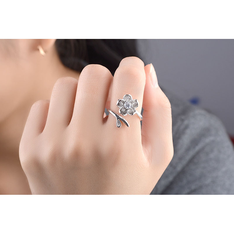 JEXXI Beautiful Lotus Zircon Stone Decoration Jewelry Fashion Sterling Silver Open Finger Rings Christmas Gift