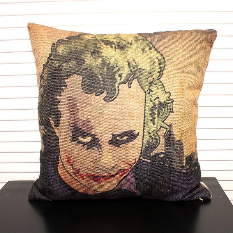 High Quality Car Printed Cotton Linen Blackout Curtain: Batman Clown Face High Quality Linen Cotton Pillow Cover