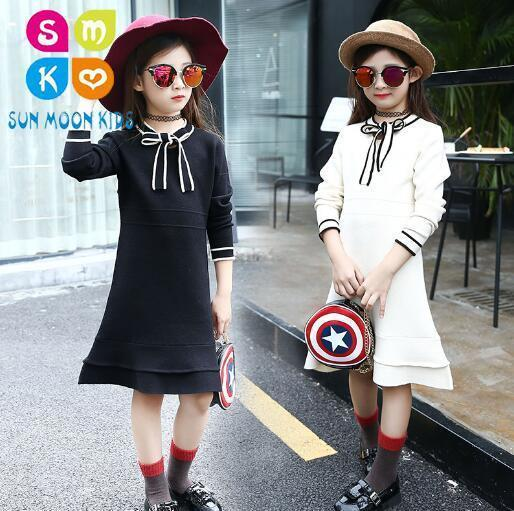 Teenage Girls Sweater Dress Kids Knitted Dress 2018 Winter Girls Long Sweater Dress Children Clothes Fashion Pullover Dress long sleeves layered swing sweater dress