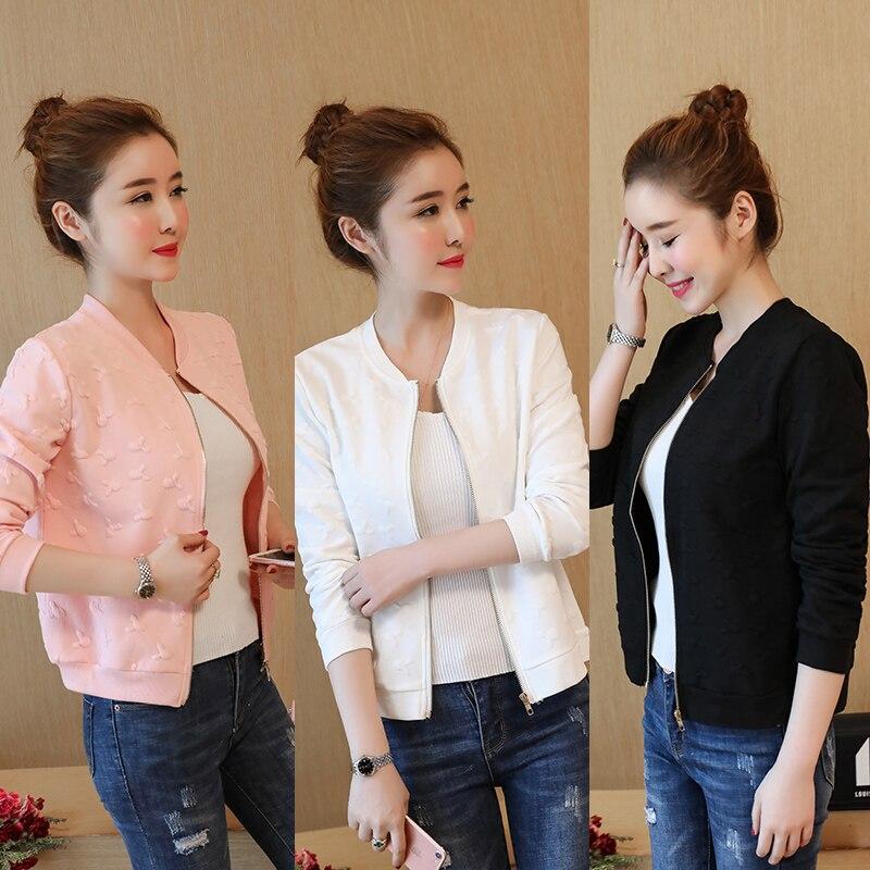 Women Biker Jacket Coat Baseball Bomber Jackets Female Outwear Pink White Black 3 Color Long Sleeve