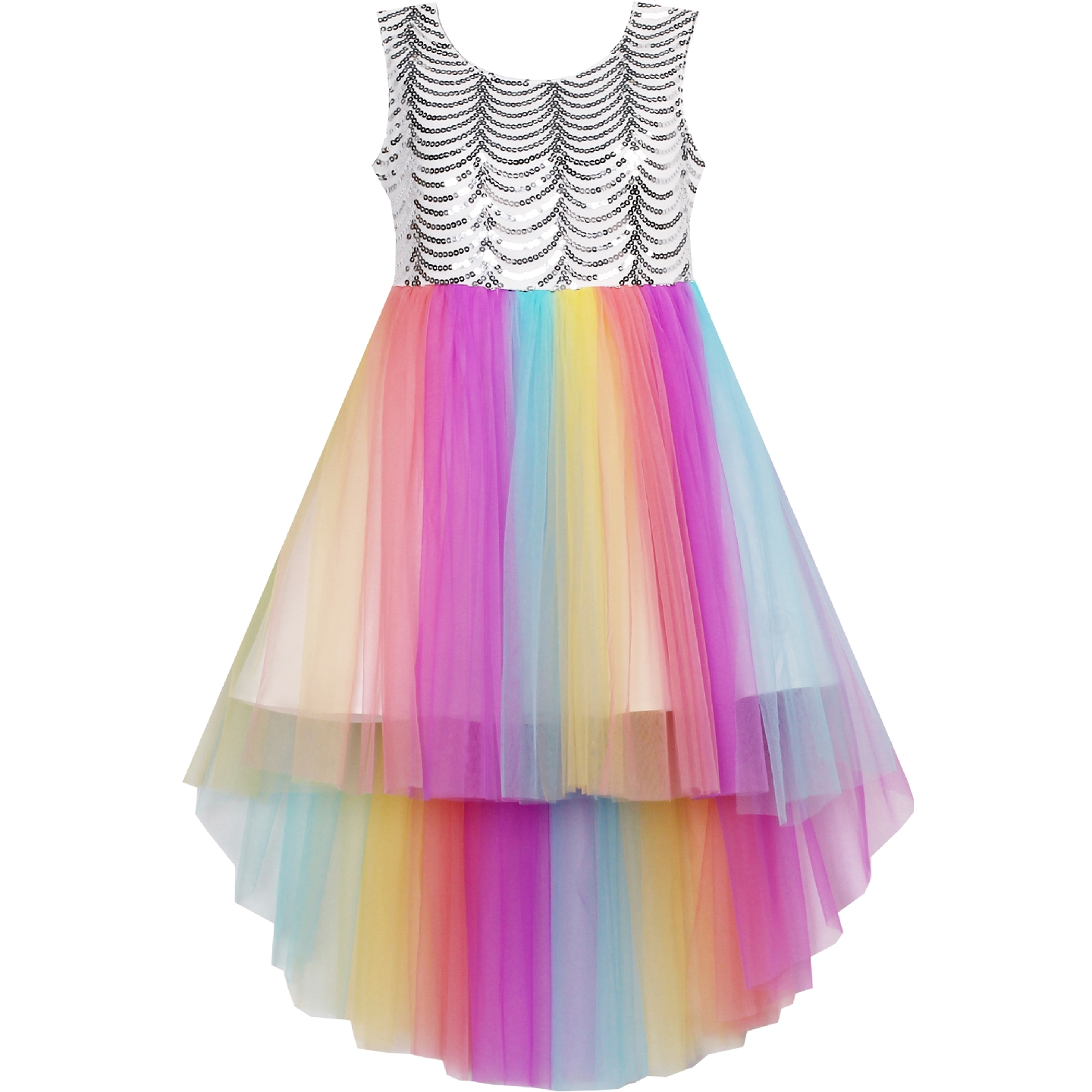 Flower     Girl     Dress   Sequin Mesh Party Wedding Princess Tulle Rainbow Summer   Dresses   Glitter Clothes Pageant Gown Vestidos Carnival