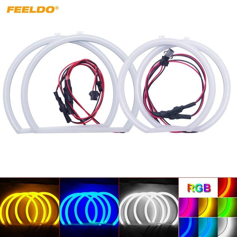FEELDO 4 pcs/ensemble Coton De Voiture Ange Yeux Halo Anneau Lumière Pour BMW E53 [X5 (99-04) phare DRL 4-Couleur # FD-3137
