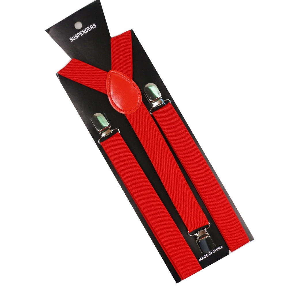 Winfox 1 Inch Wide Male Red Navy Yellow  Y Back Clip On Braces Elastic Unisex Suspender Men Women
