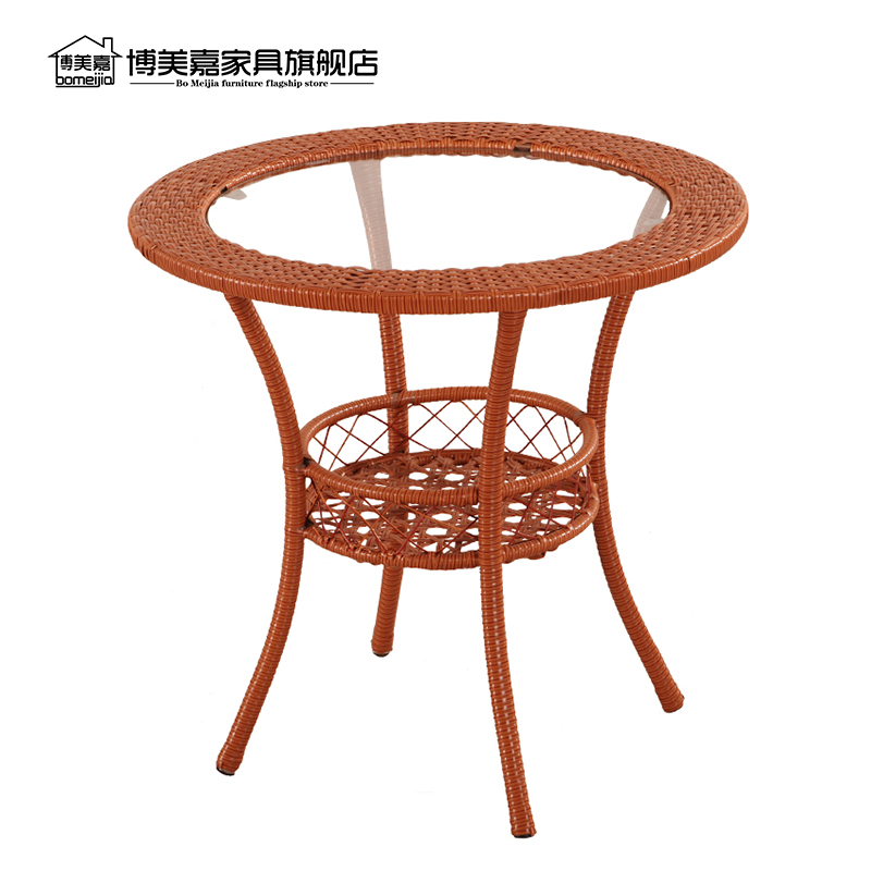 Simple Circular Balcony Glass Coffee Table Small Round