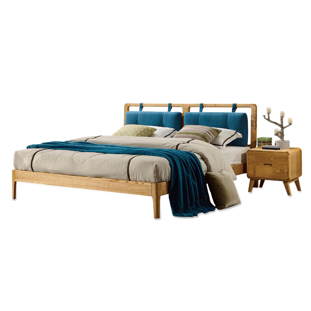 1212H105 Asho solid wood Original Nordic style with stable ranked skeleton soft bed-rest Modern Simple style large bed frame