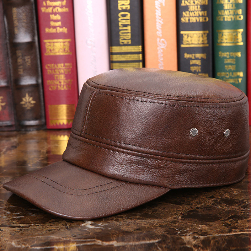 Cowskin Genuine Leather Baseball Cap Men's Warm Earflap Hat Cowhide Cap Cow Leather Flat Top Snapback Hat for Male Casual B-7285 wiper blades for volvo v50 26