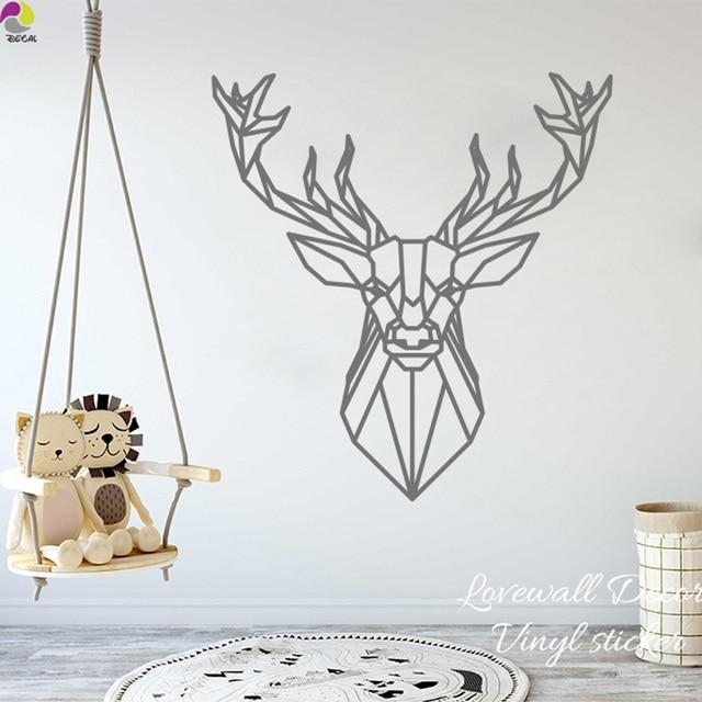 cartoon geometric deer wall sticker baby nursery kids room cute