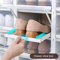 3PCS/Lot Shoes Rack Plastic Push pull Shoe Organizer Stackable Storage Drawers Boxes Shoes Boxe for High Heels Sports Shoes Rack
