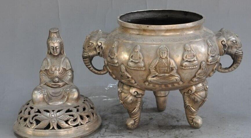 Bouddhisme chinois argent kwan-yin bouddha éléphant tête encensoir brûleur d'encens