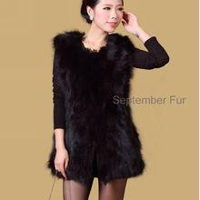 100% genuine middle long women Natural fox fur vest Jacket Coat Girl Lady Wholesale free drop ship sleeveless waistcoat