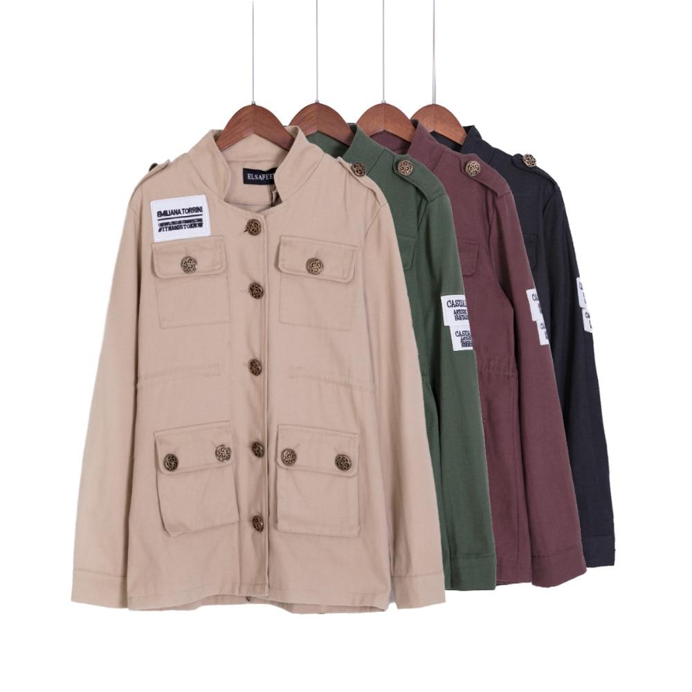 SM, L 봄 가을 여성 자수 군사 육군 녹색 재킷 졸라 패치 워크 접이식 코트 casacos femininos C47001