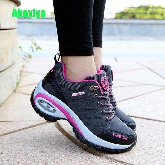 Akexiya 2019 Sonbahar Düz Platformu Sneakers Kadın Lace up Flats deri ayakkabı Kadın Rahat Topuklu Ayakkabılar Kadın zapatos de mujer
