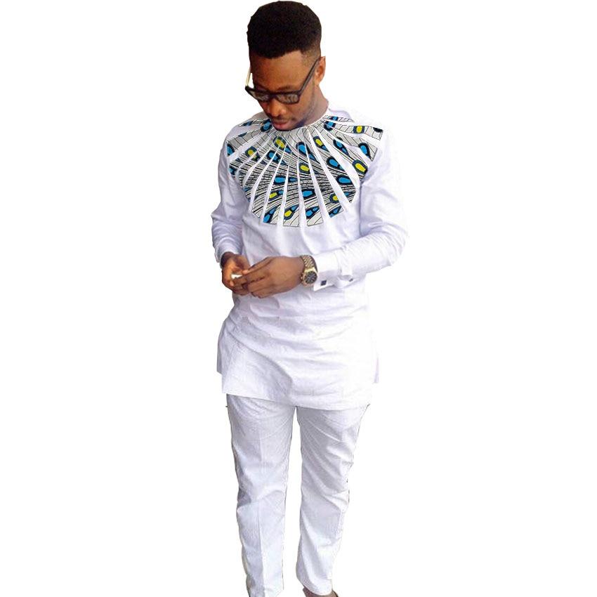 0f8b58ef49e11f6 Африканский принт мужские рубашки Дашики модные брюки наборы с круглым  вырезом топ + брюки 2 шт