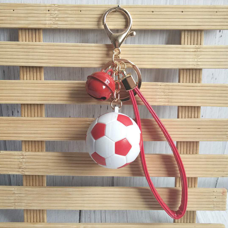 6 styles NEW hot W Cup soccer key ring Bell leather rope bag pendant sports event tourism small gift xq0.42