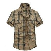 2017 جديد الرجال الصيف 100% القطن الخالص منقوشة فضفاض قصيرة الأكمام قميص رجل قميص كبير الحجم m-5xl