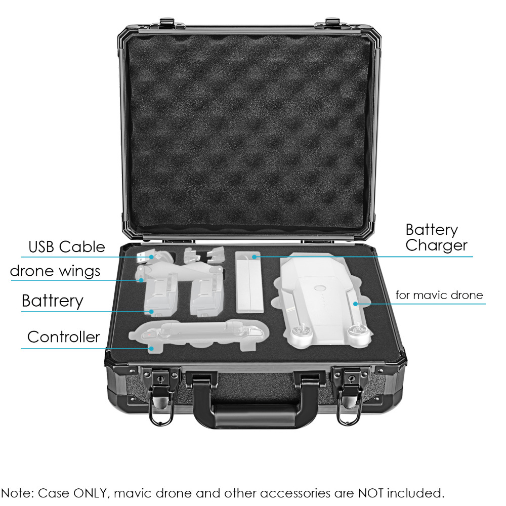 Neewer DJI Mavic Pro Drone Case Aluminum Hardshell Carrying Case Bag Suitcase for DJI Mavic Pro Drone Foldable Quadcopter Drone
