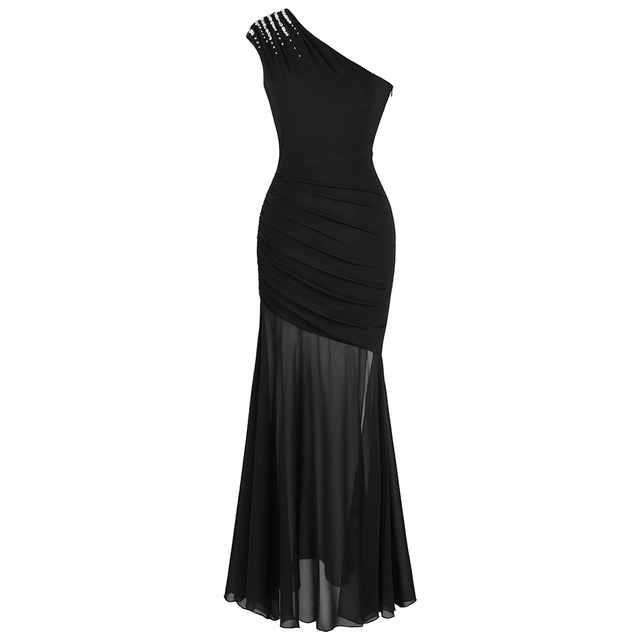 Angel fashions Womens One Shoulder Pleated Evening Dress Long Little Black Dresses Slit Illusion Formal Party Gown 426