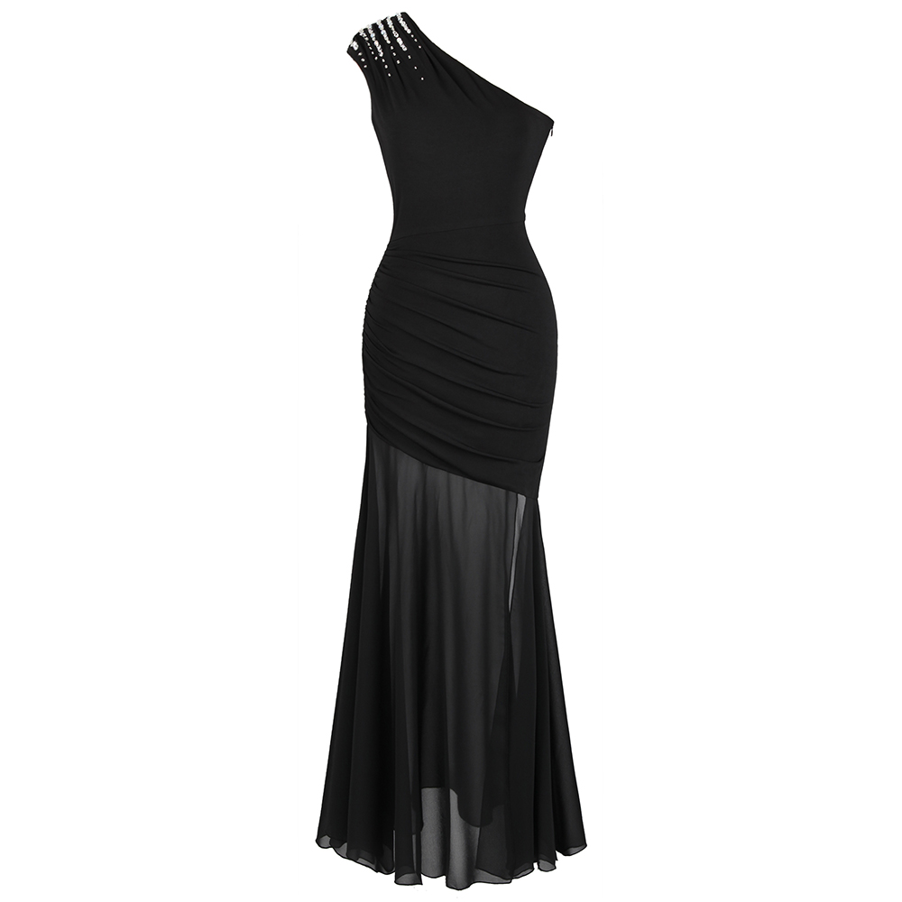 Angel-fashions Women's One Shoulder Pleated   Evening     Dress   Long Little Black   Dresses   Slit Illusion Formal Party Gown 426