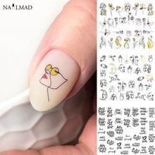11/12 patronen/sheet Zwarte Lijn Coloful Abstract Beeld Nail Sticker Decals Sexy Meisje Water Transfer Slider Voor nagels Art