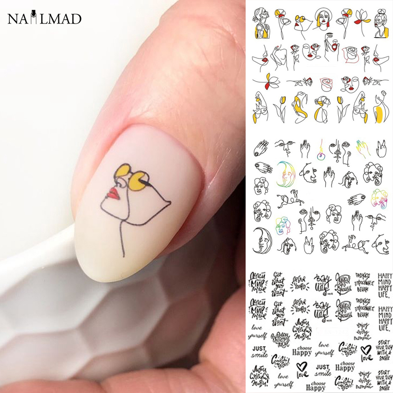11/12patterns/sheet Black Line Coloful Abstract Image Nail Sticker Decals Sexy Girl Water Transfer Slider For Nails Art
