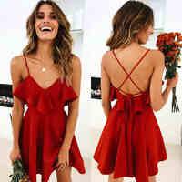 Lossky Summer Sexy Dress Women's 2019 Backless Cross Drawstring Ruffles Bundle Waist V-neck Strap Mini Dress Summer Red Vintage